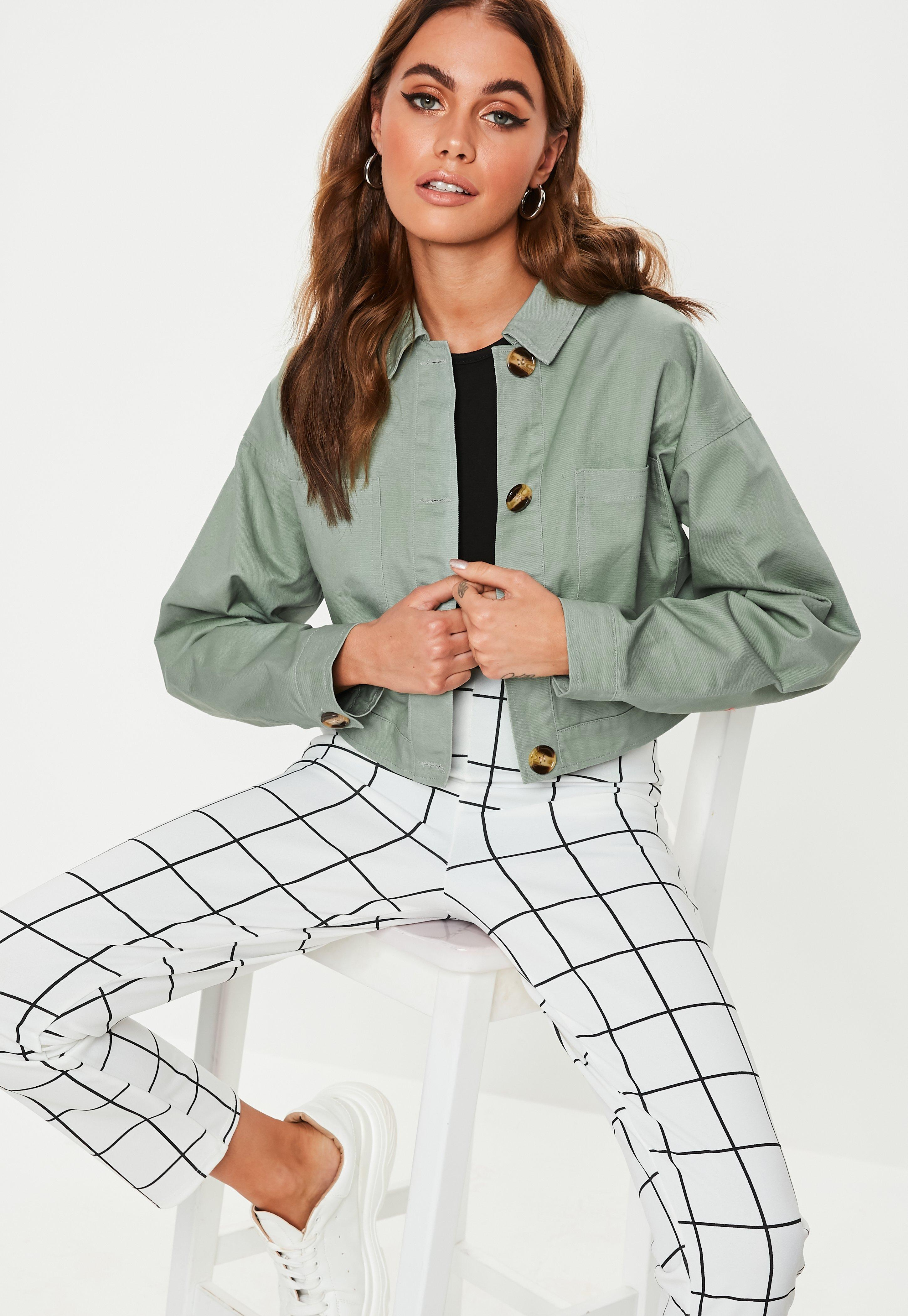 Green Cropped Utility Pocket Shacket by Missguided