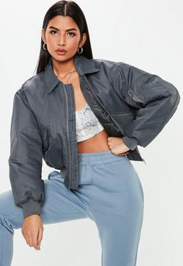 9b74c8799a2 Playboy X Missguided Black Motocross Zip Through Jacket · Grey Ultimate  Padded Utility Bomber Jacket