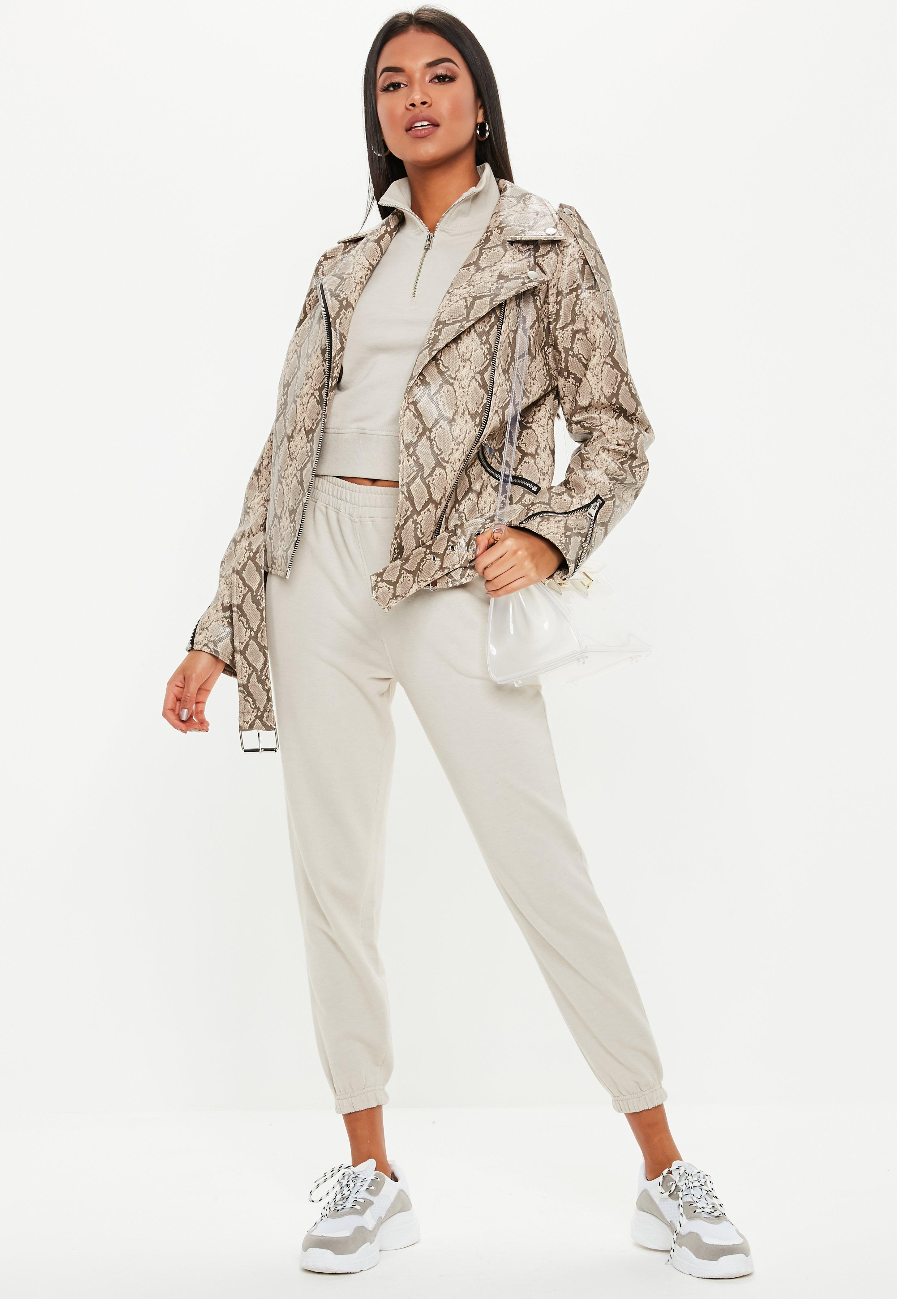 c36da81fc2c4 Brown Snake Print Faux Leather Oversized Biker Jacket | Missguided