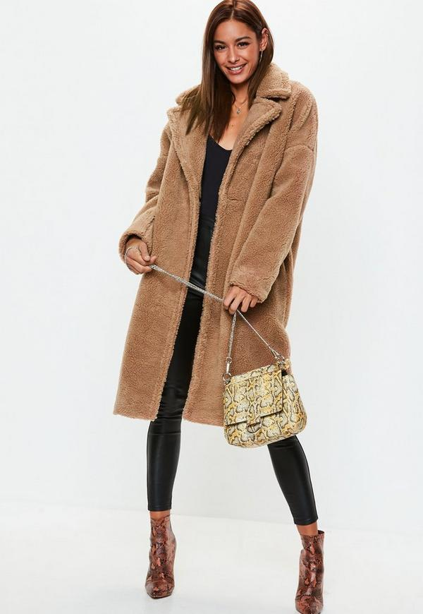 Camel Chunky Borg Teddy Coat by Missguided