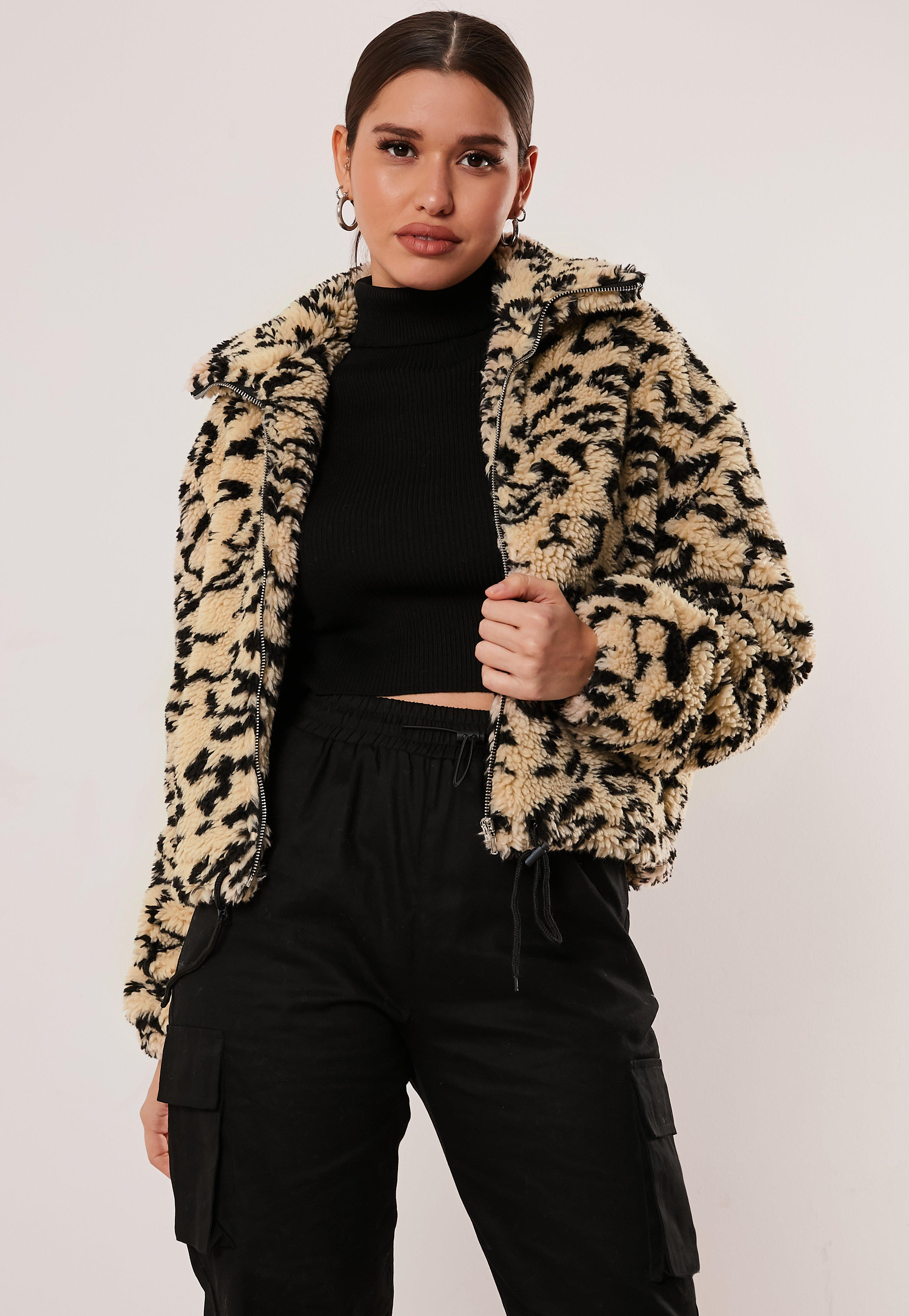 d0129668c Brown Leopard Print Teddy Bomber Jacket