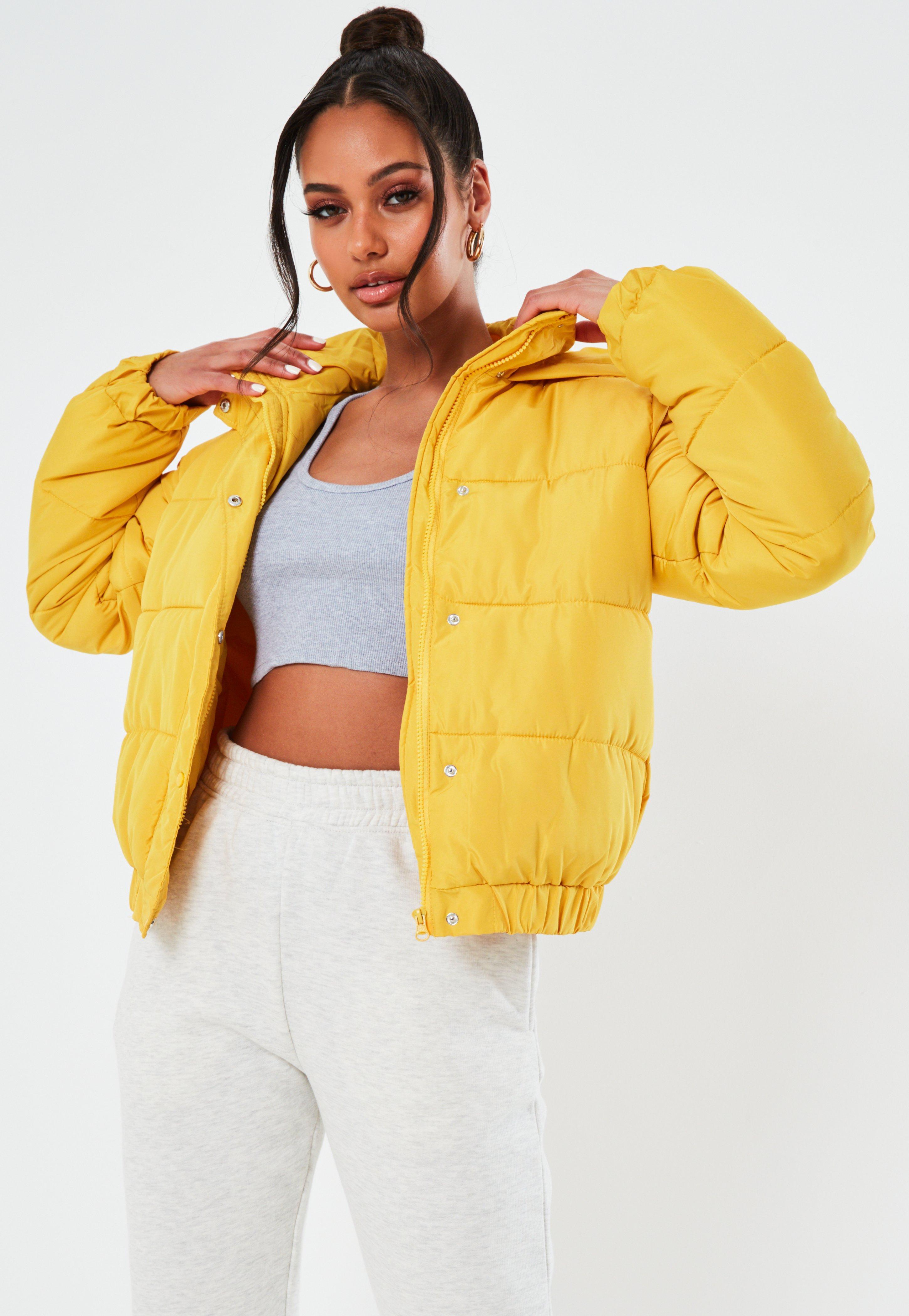 8fa68043c Yellow Hooded Puffer Jacket