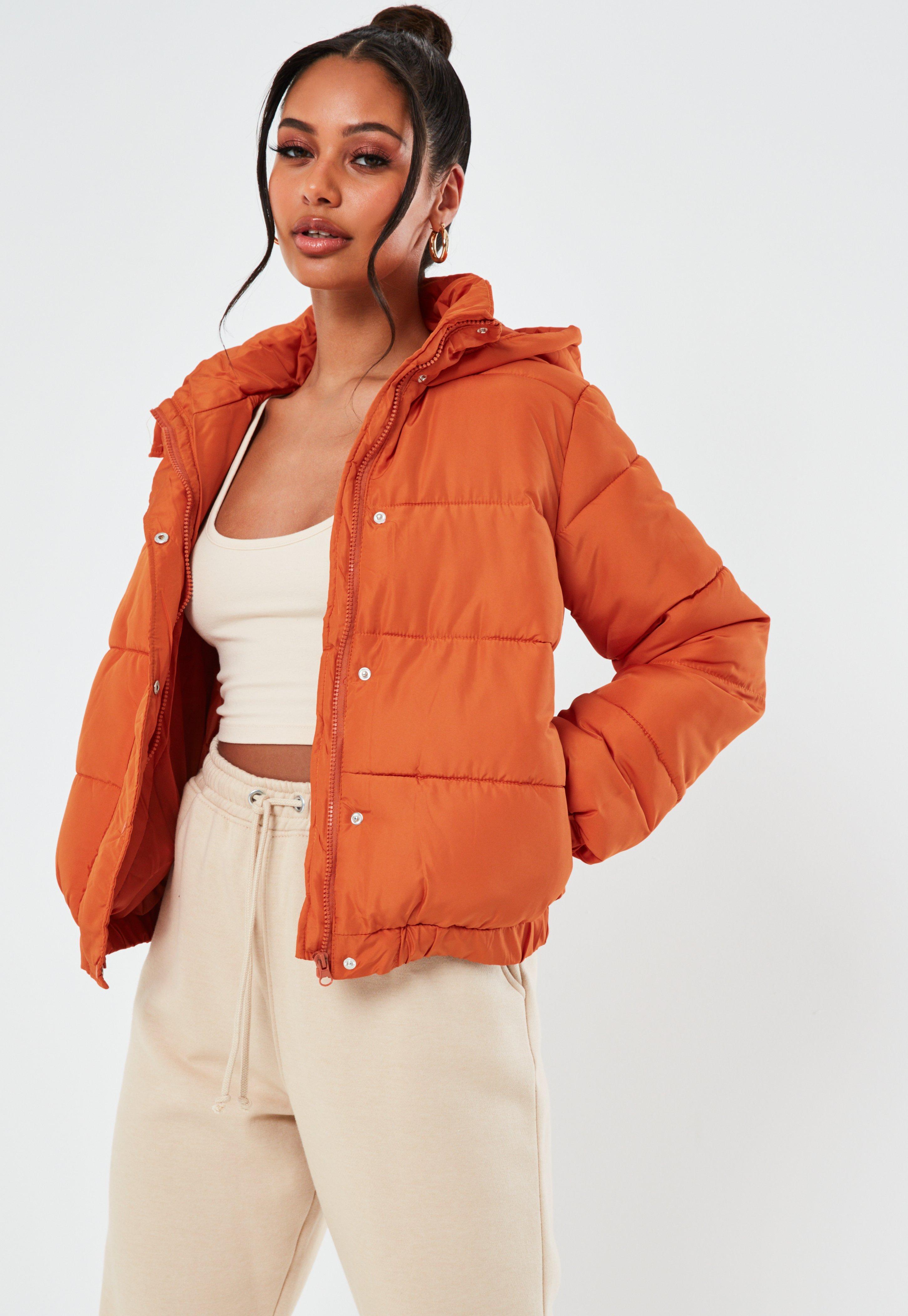 0e5fd52777a Orange Hooded Puffer Jacket