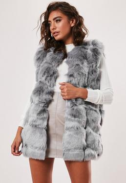Grey Faux Fur Bubble Gilet
