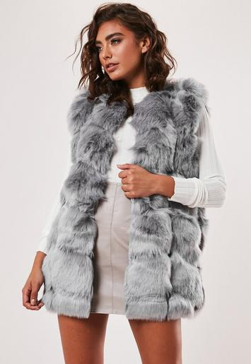 Grey Faux Fur Bubble Gilet by Missguided