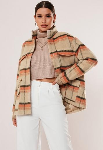 Beige Check Print Utility Drawcord Formal Coat by Missguided