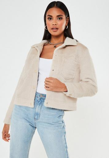 Nude Short Hair Look Trucker Jacket by Missguided