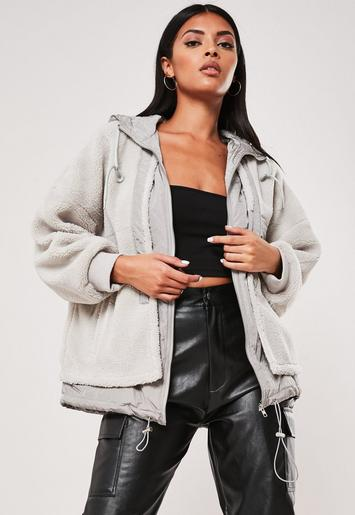 Grey Borg Zip Through Anorak Jacket by Missguided