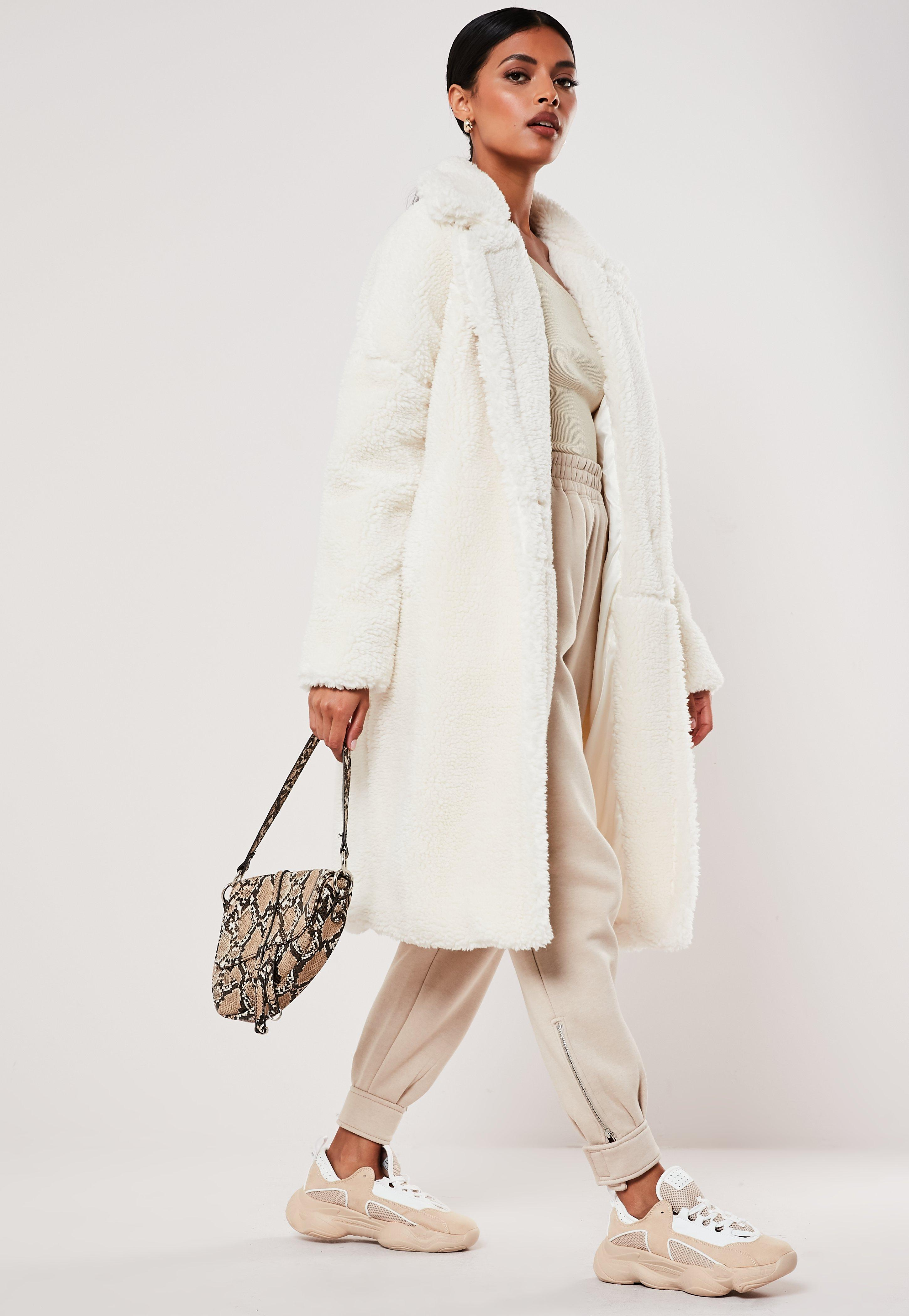 how to get fashionable and attractive package on feet at White Teddy Borg Oversized Coat