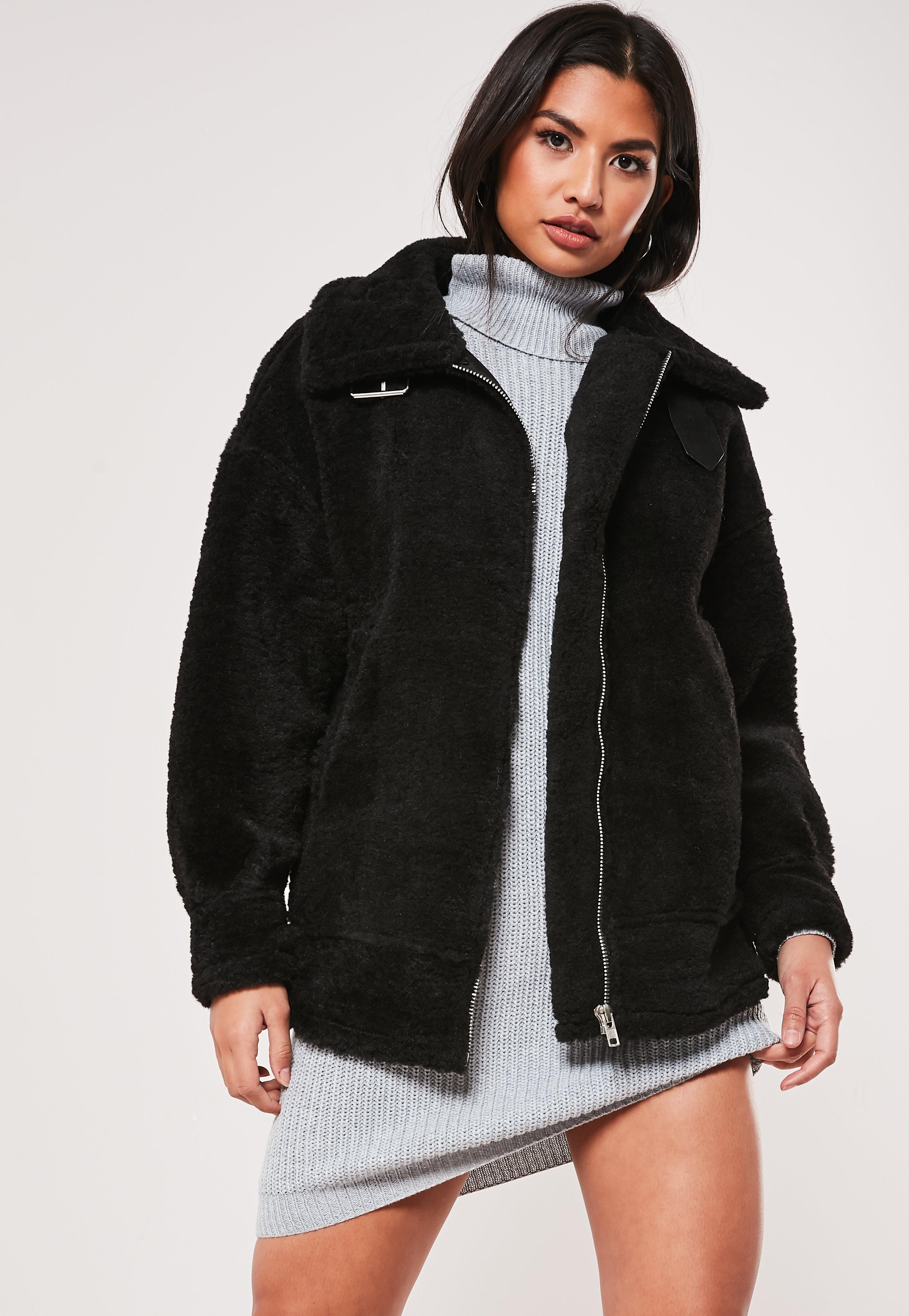 3e3996dbc Black Ultimate Oversized Faux Fur Aviator Jacket