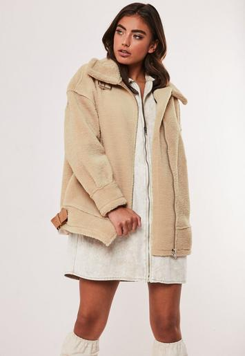 Stone Faux Fur Oversized Aviator Jacket by Missguided