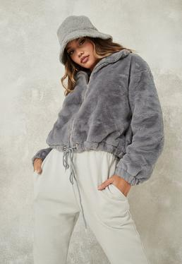 grey cropped faux fur bomber jacket