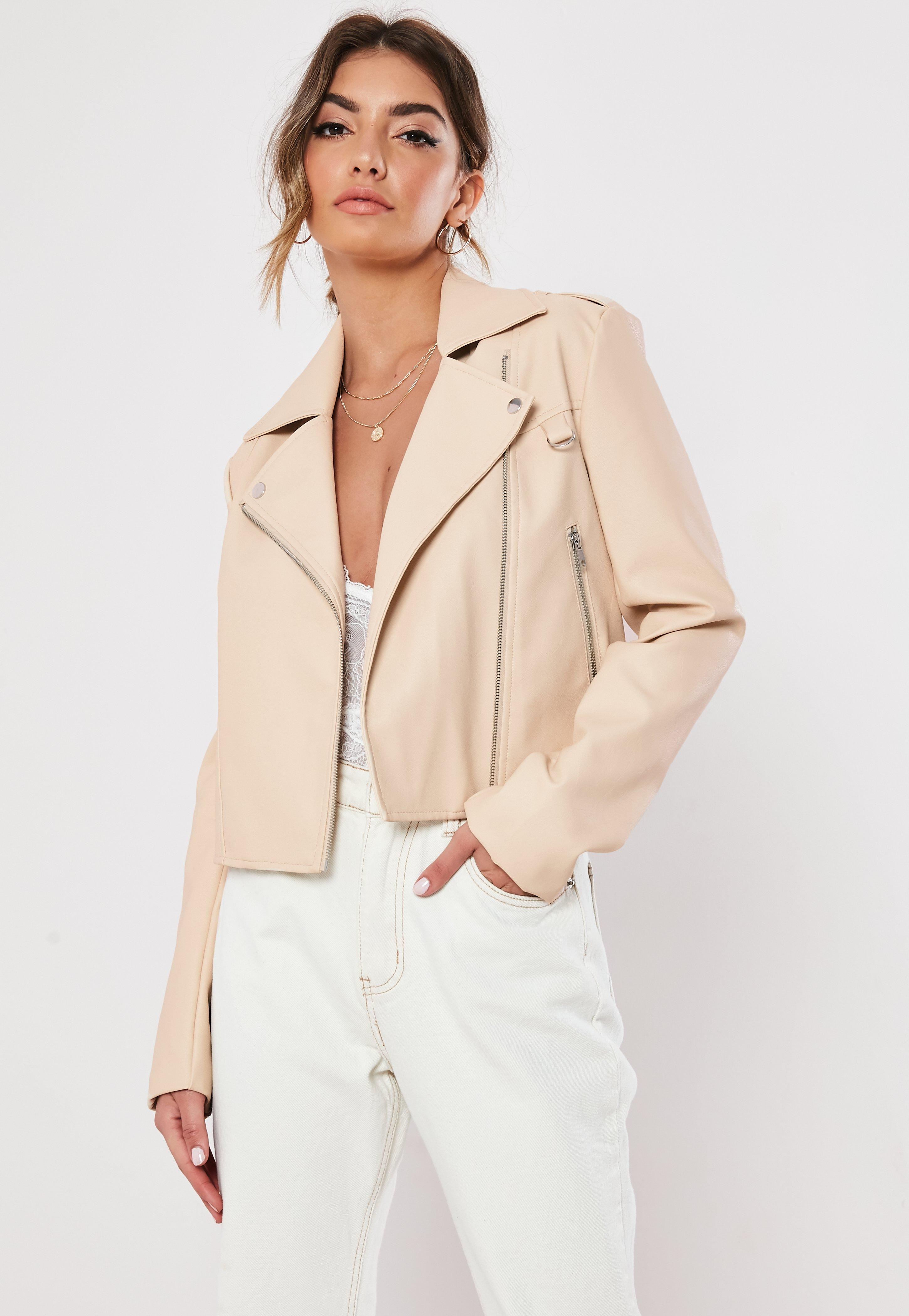 Stone Faux Leather Boxy Biker Jacket by Missguided