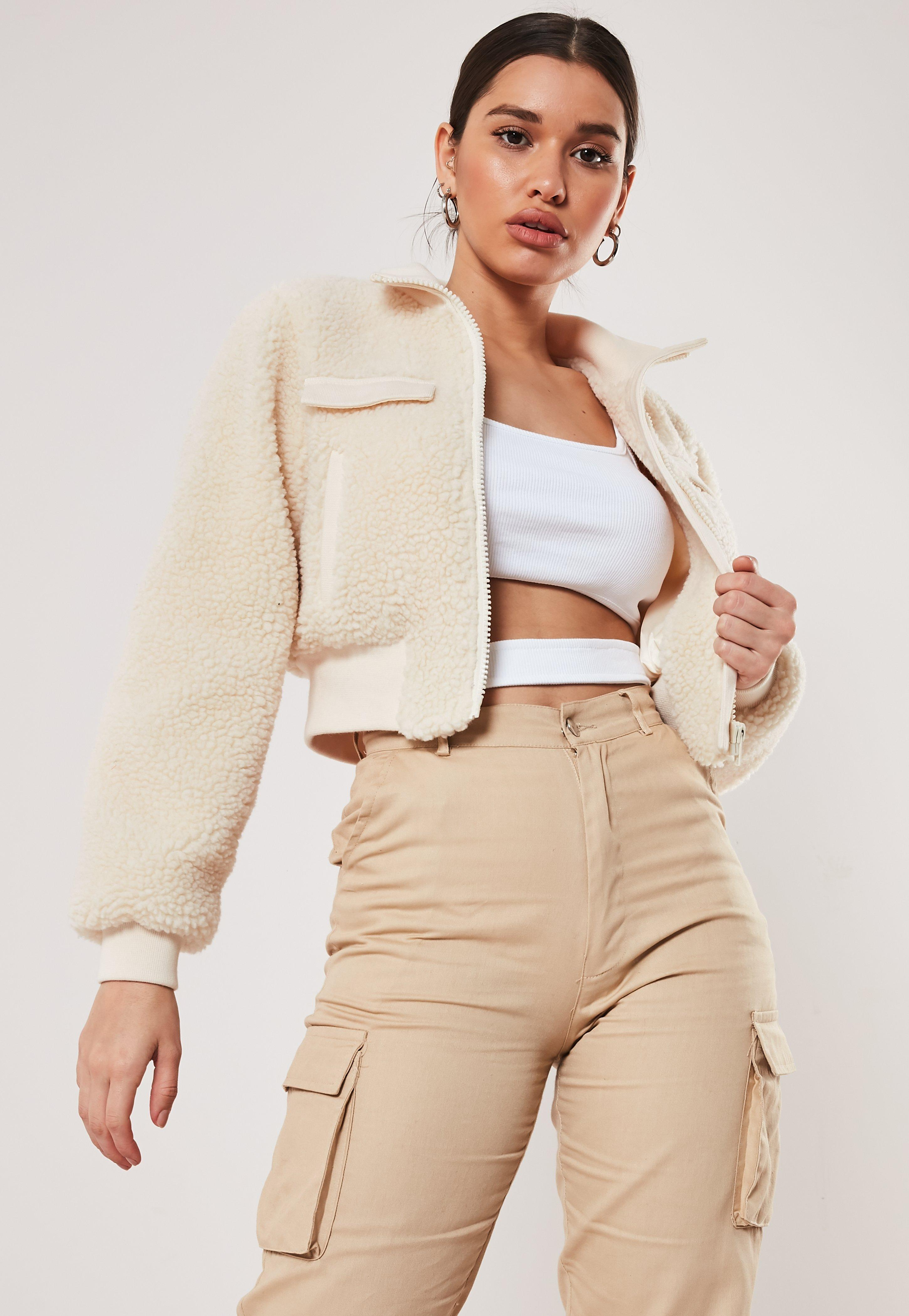 Cream Cropped Borg Bomber Jacket by Missguided
