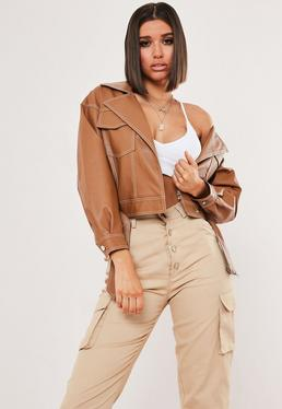 11f428a1 more colors + · Tan Faux Leather Contrast Stitch Biker Jacket