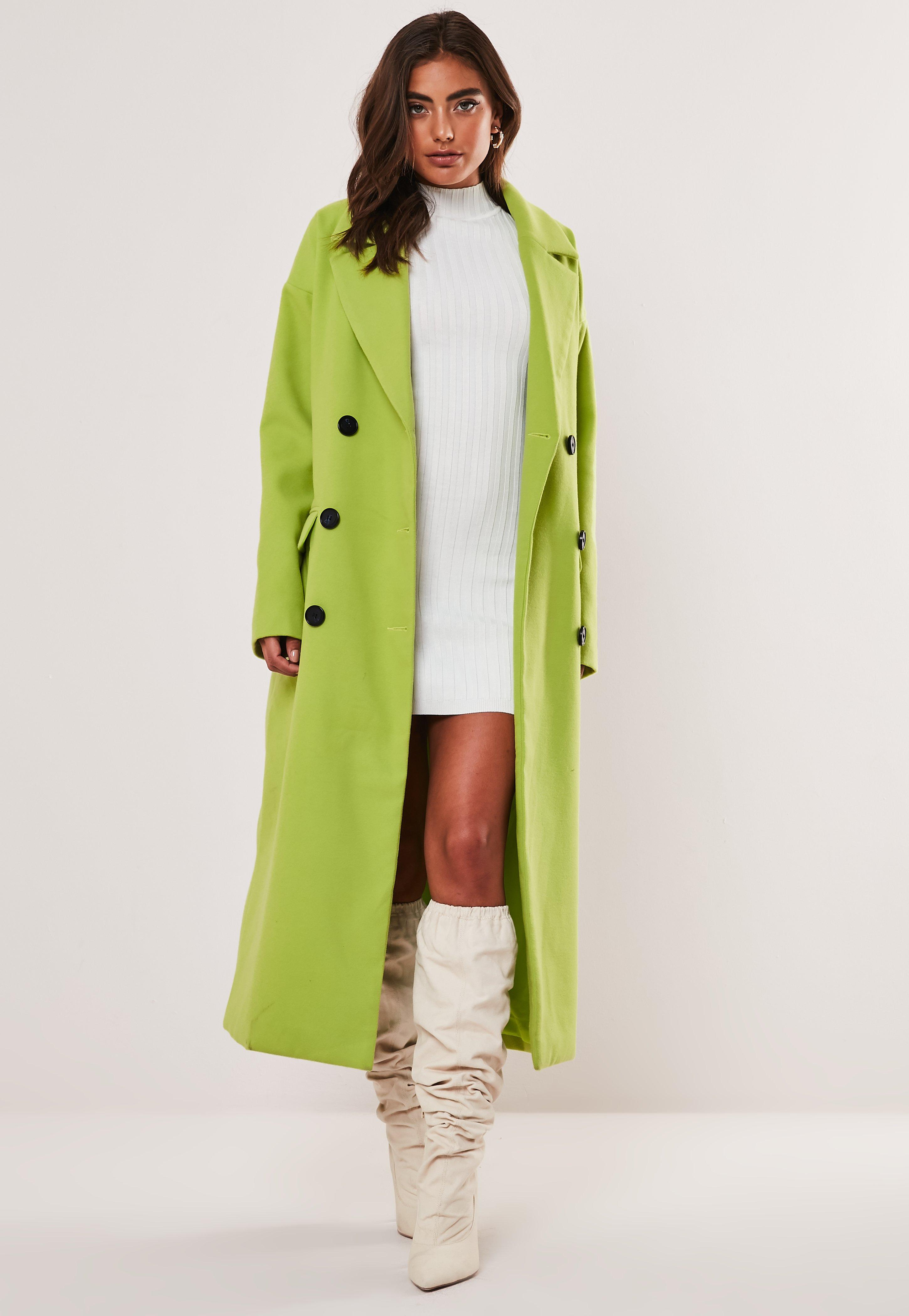 4e675182a Lime Oversized Double Breasted Midaxi Coat