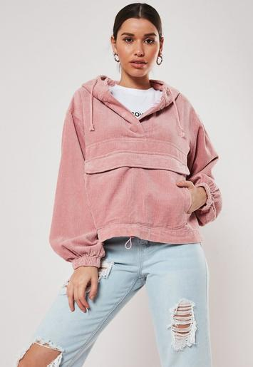 Pink Oversized Cord Hooded Jacket by Missguided