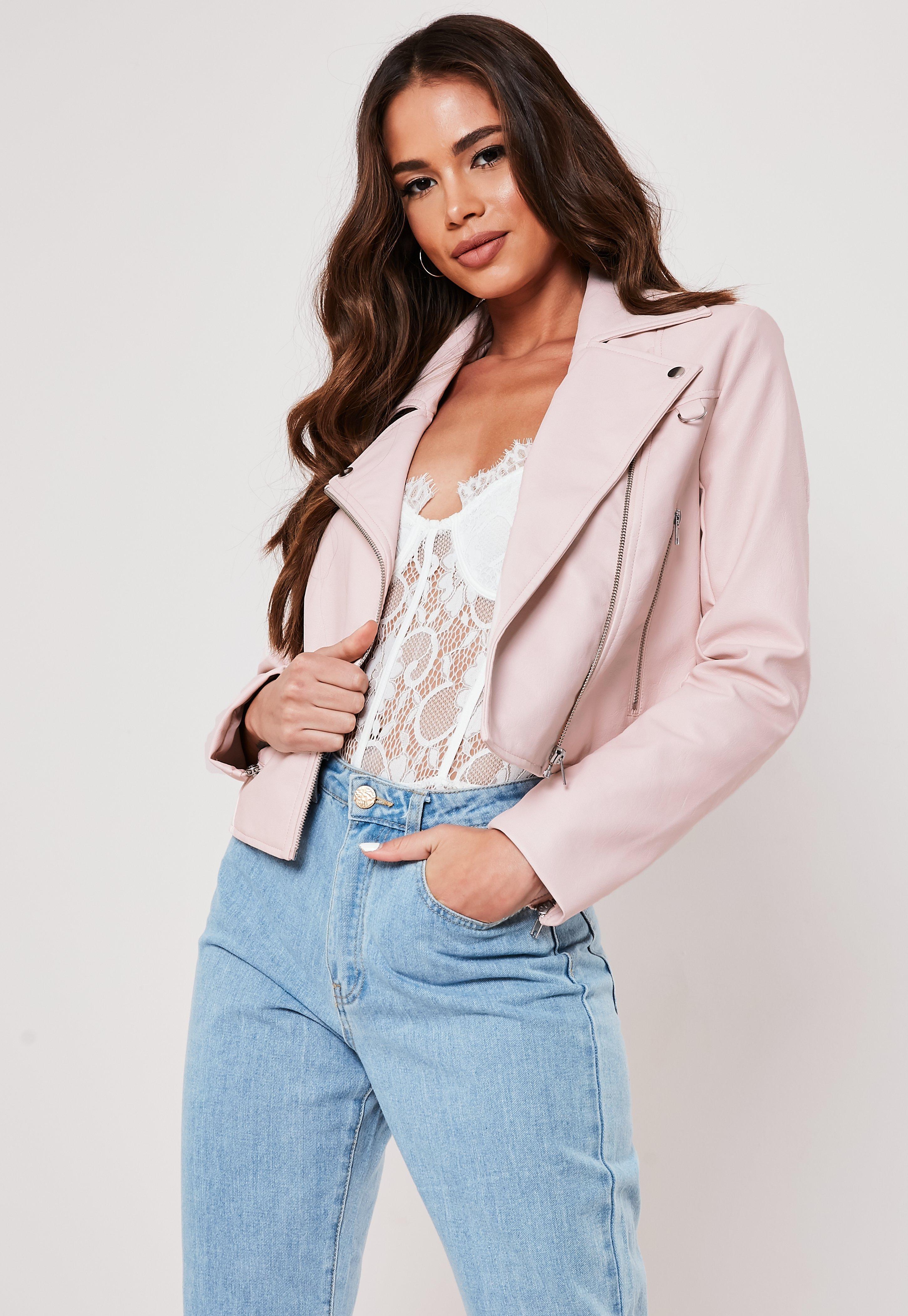 9d2de0097 Shoptagr | Pink Faux Leather Ultimate Boxy Biker Jacket by Missguided