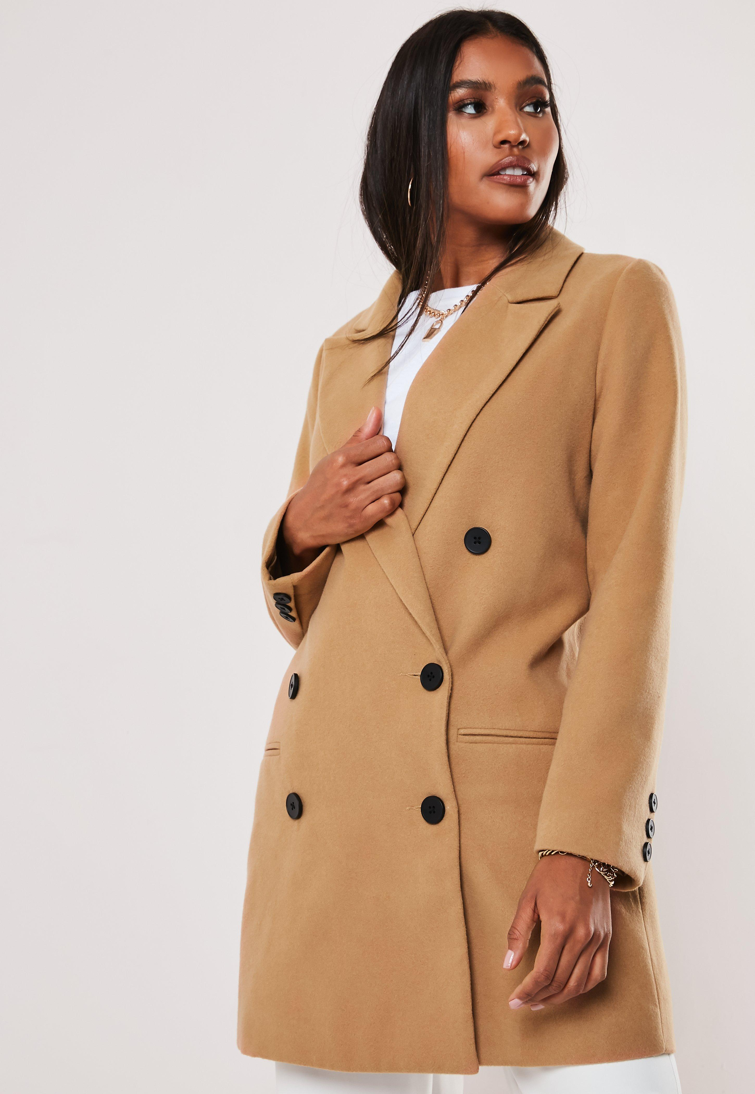 f602c4e9b Camel Oversized Double Breasted Coat
