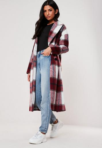 Red Check Oversized Cocoon Coat by Missguided