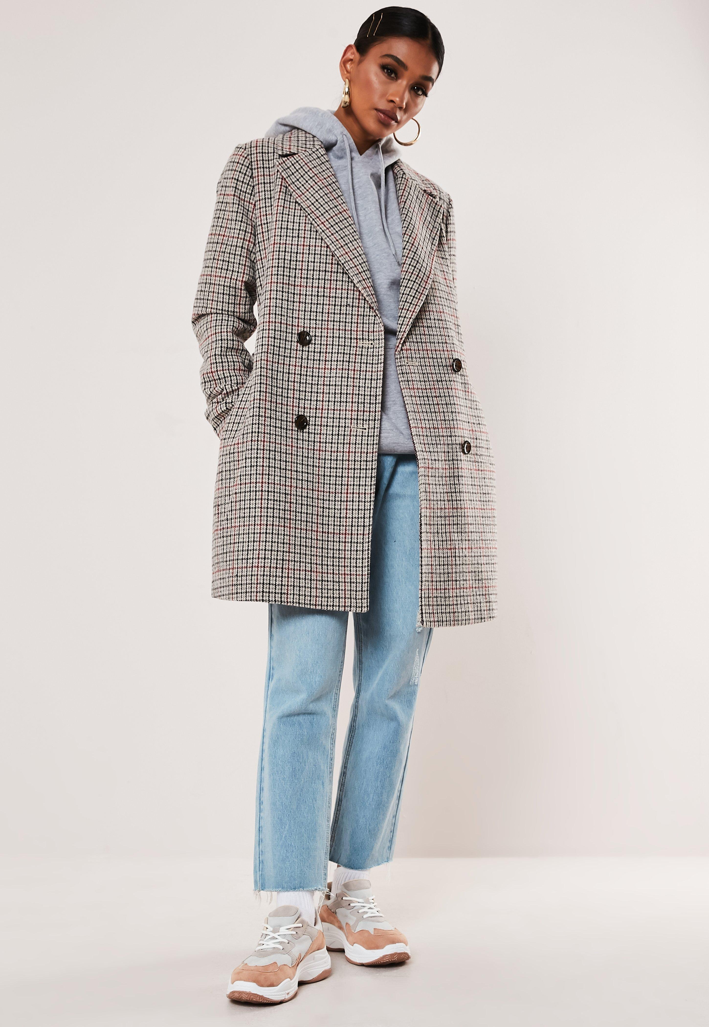 Gray Plaid Wool Mix Trench Coat by Missguided