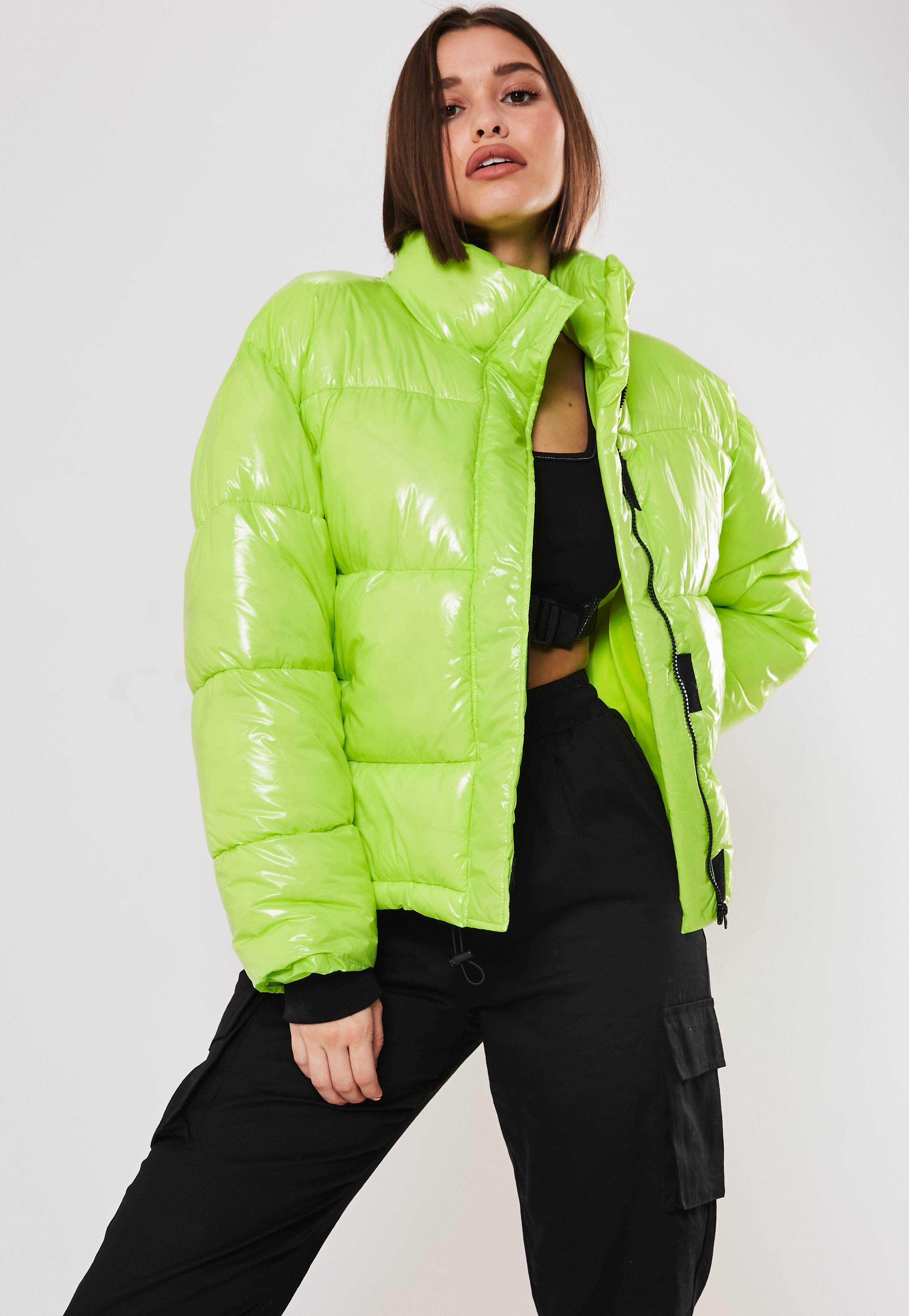 352e89025 Neon Green Oversized Puffer Jacket