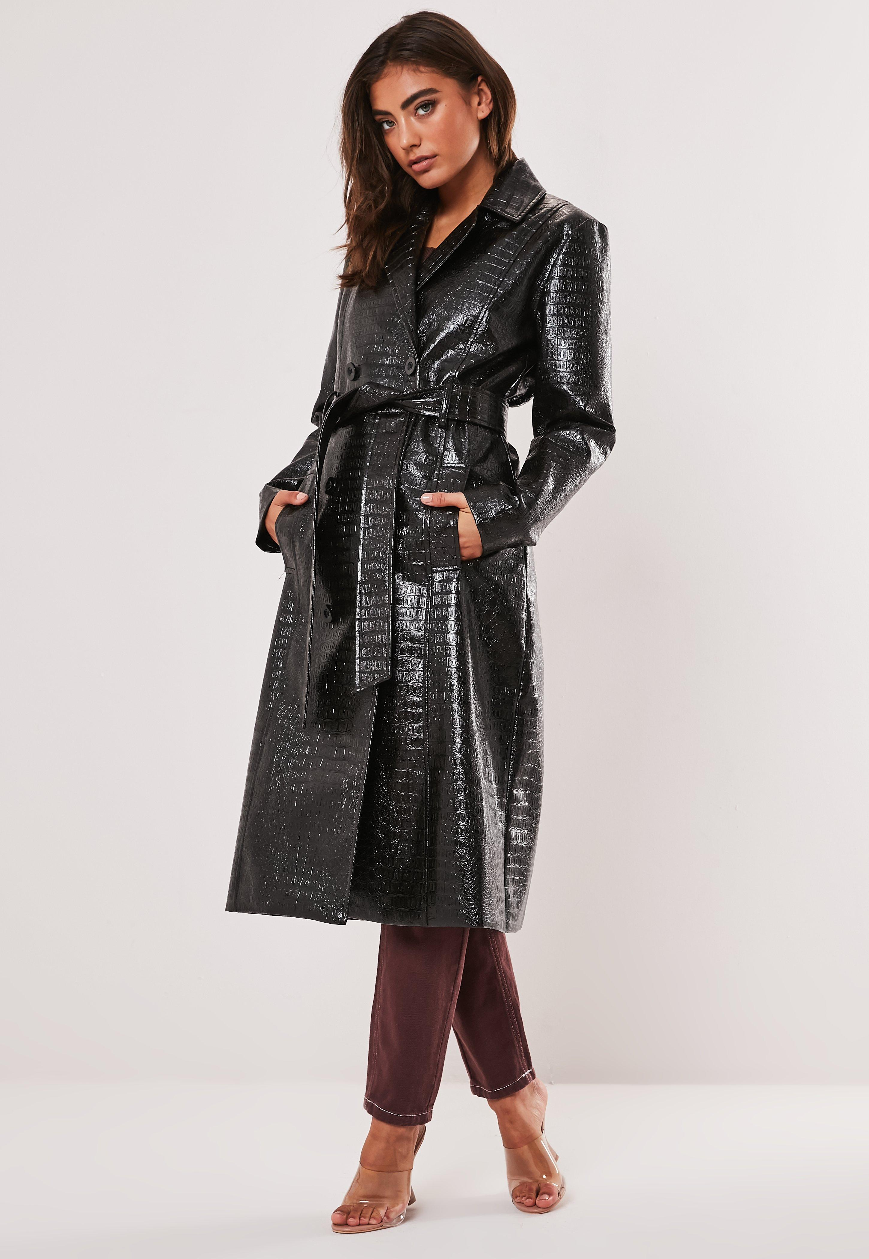 luxury where can i buy on feet images of Black Croc Vinyl Trench Coat