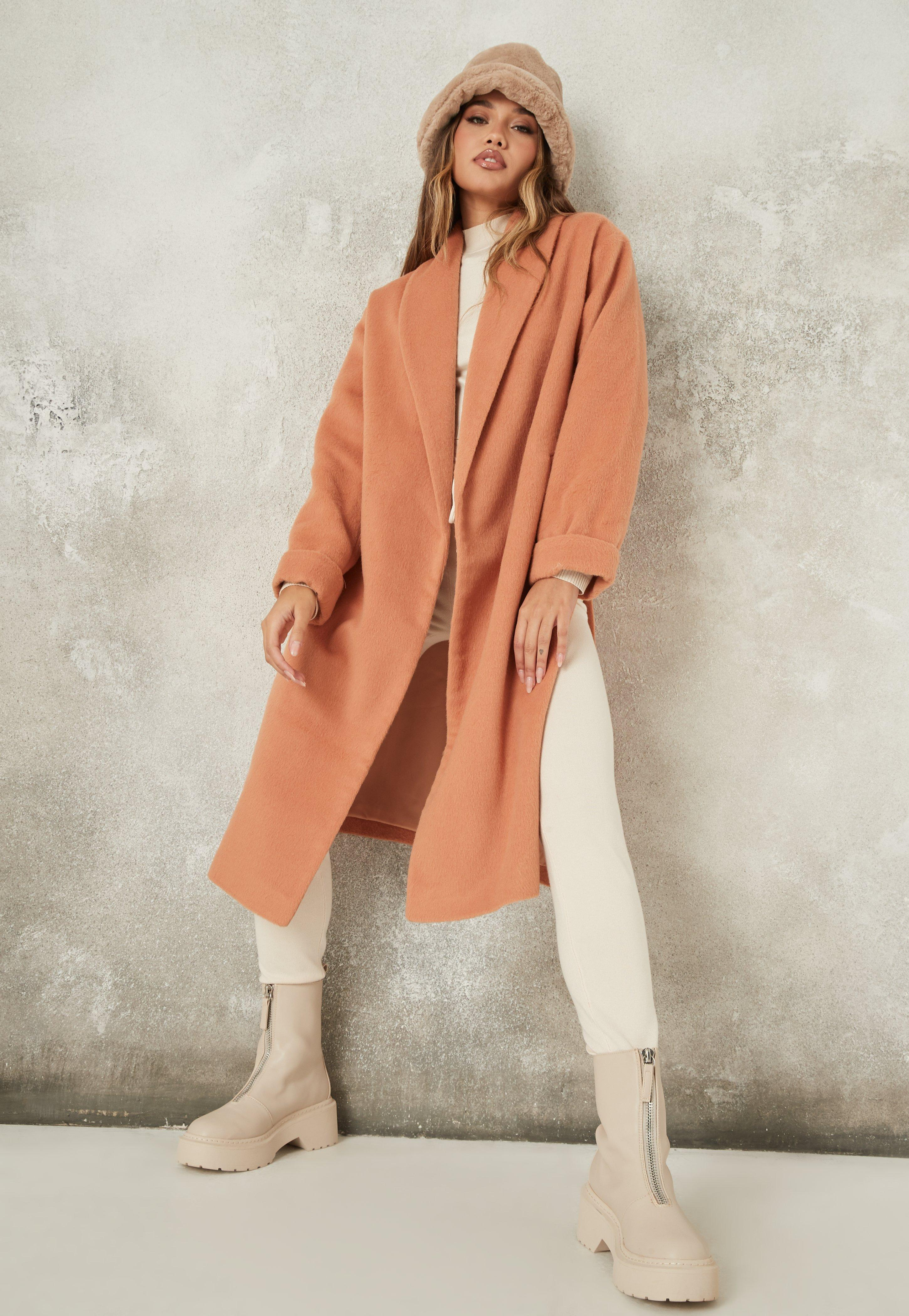 Sleeve Slit Coat Peach