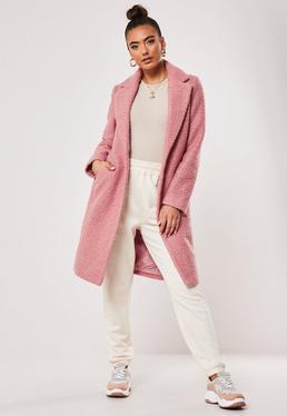 Pink Boucle Slim Formal Coat