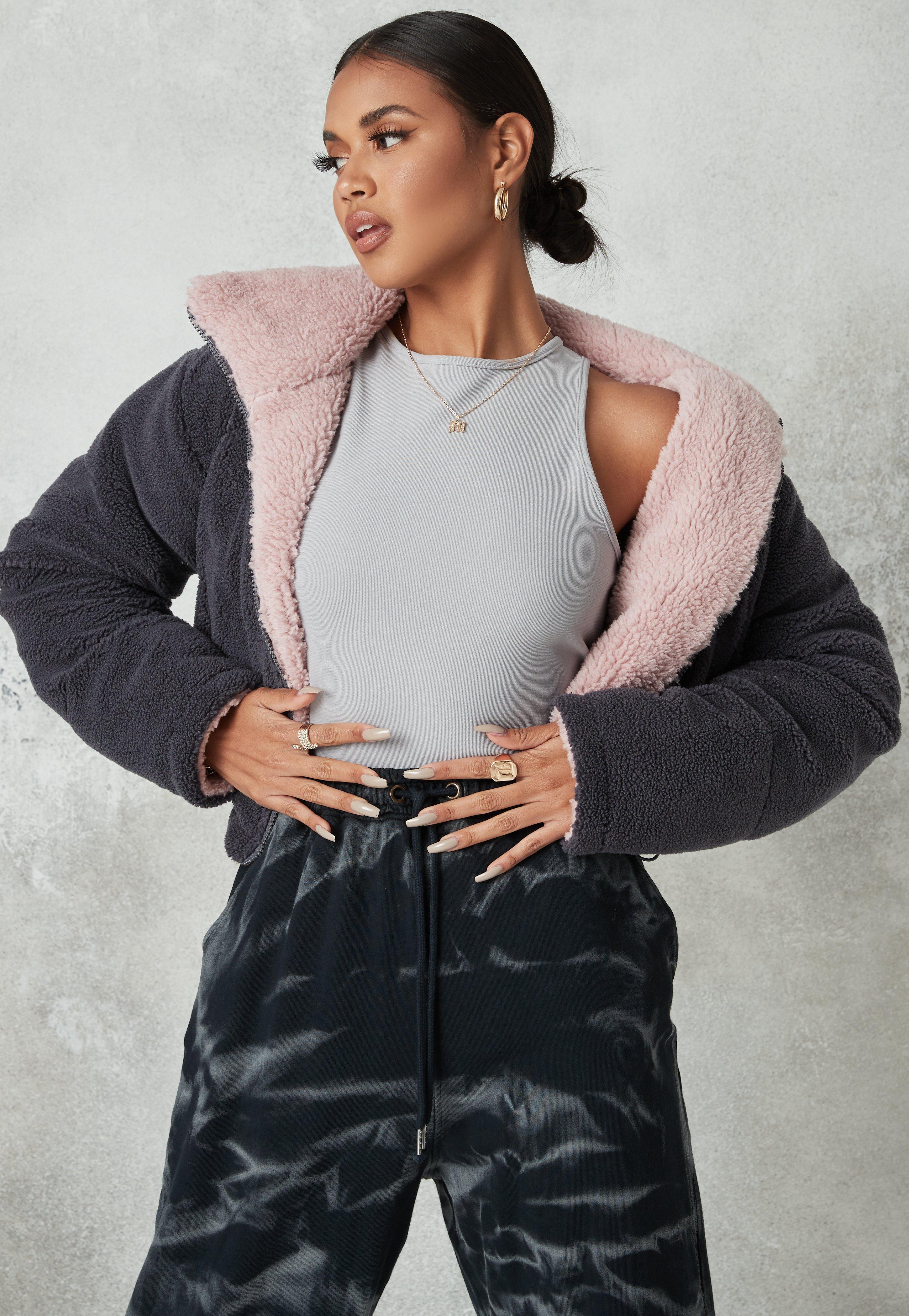 Fab pastel baby pink fur coat teddy bear jacket over Depop