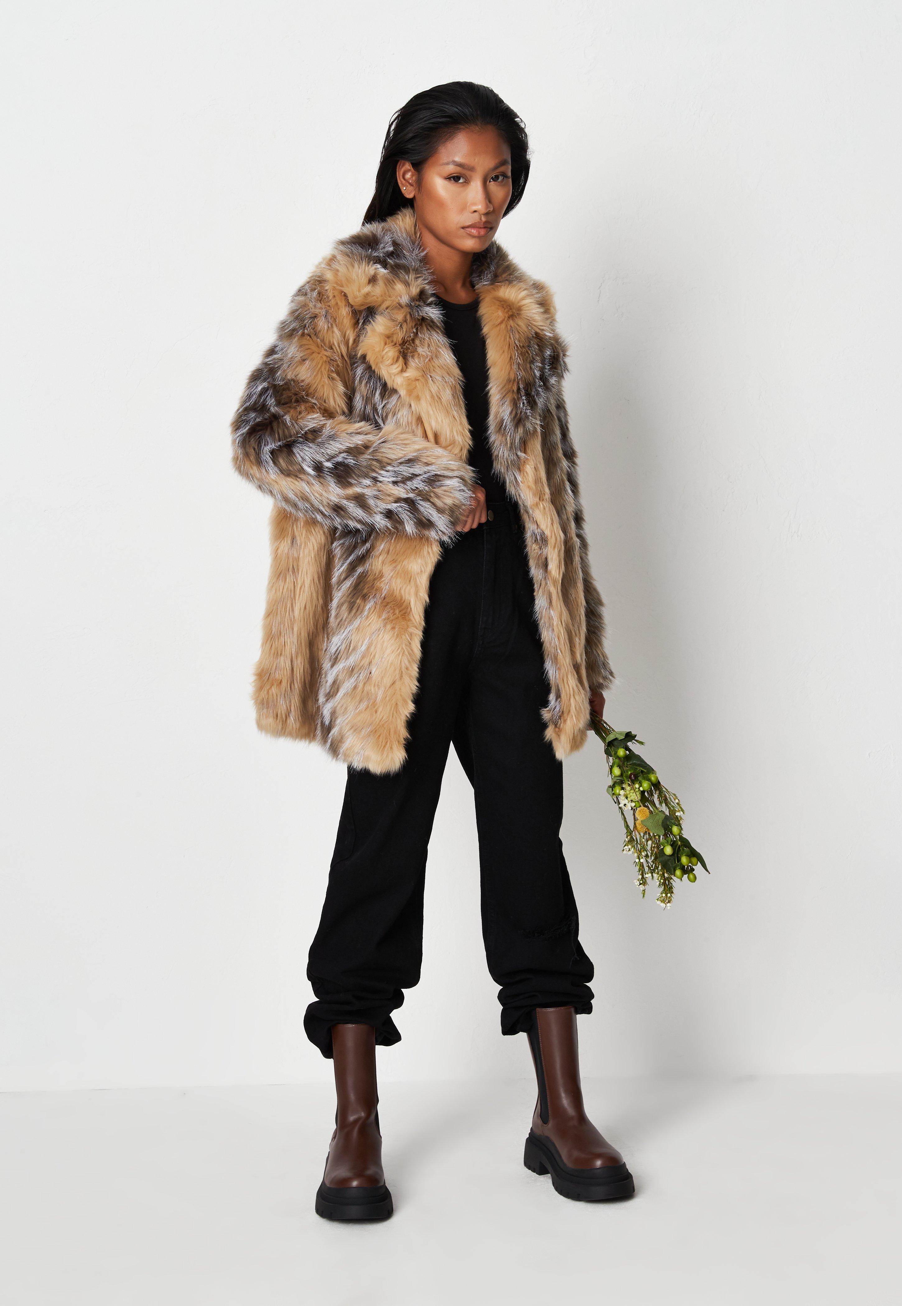 Premium Beige Tipped Chevron Faux Fur Coat
