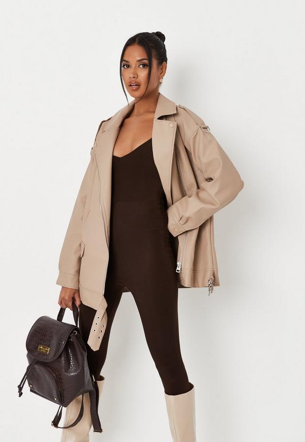 camel long faux leather biker jacket