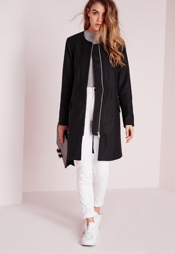 Collarless Zip Faux Wool Jacket Black
