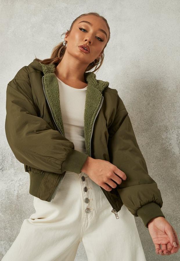 sage borg lined zip through bomber jacket