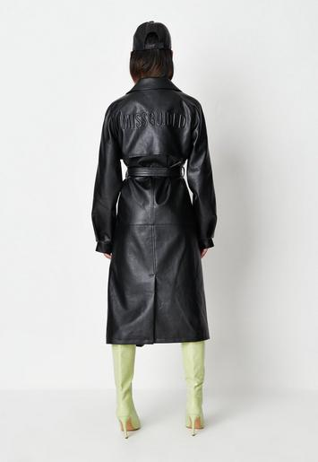 Black Missguided Faux Leather Branded, Womens Faux Leather Trench Coat Uk
