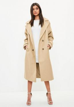 Camel Double Breasted Faux Wool Coat