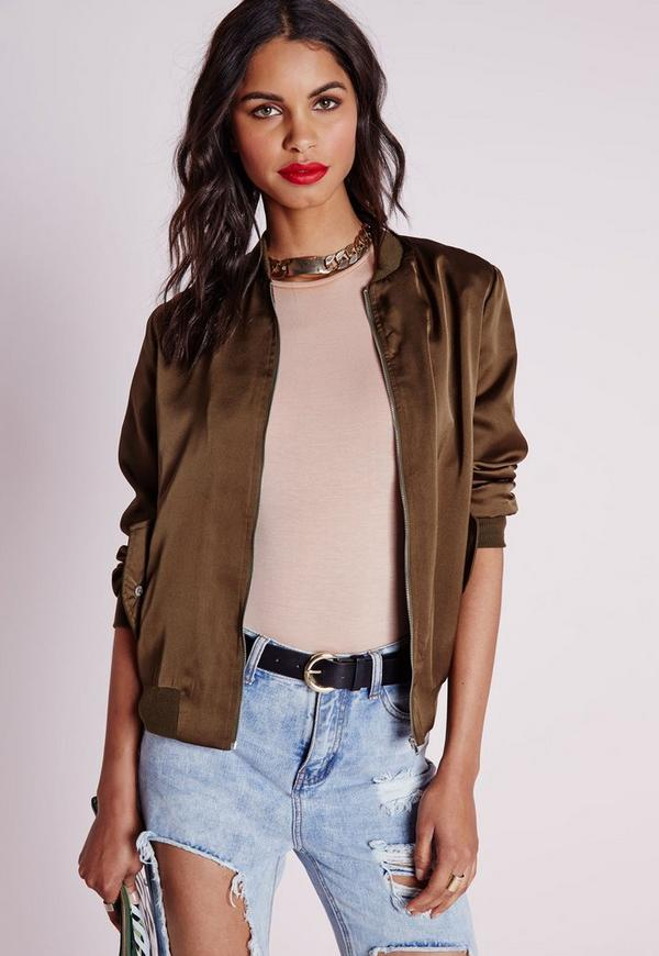 Satin Bomber Jacket Khaki