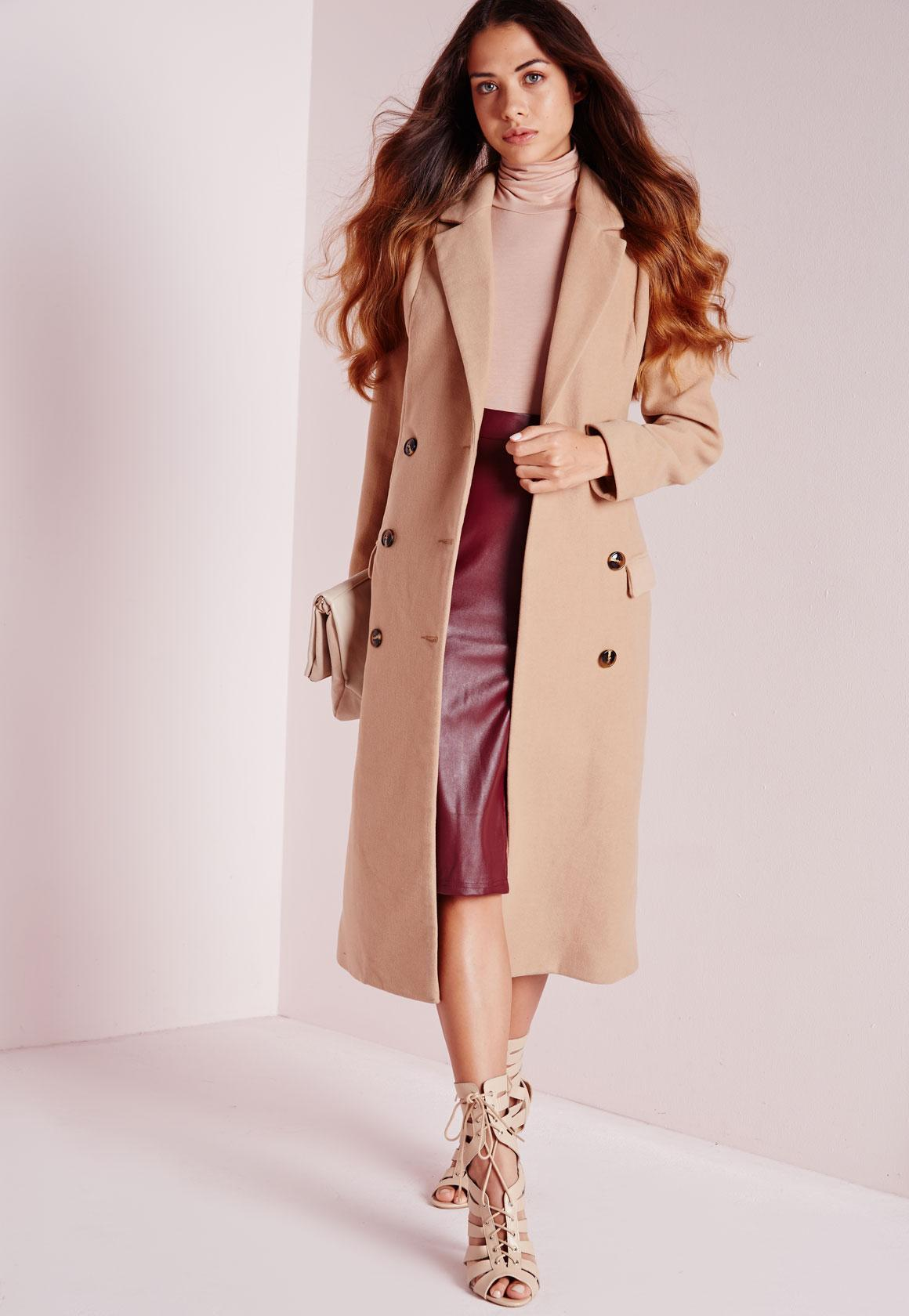 Double Breasted Tailored Long Faux Wool Coat Camel   Missguided