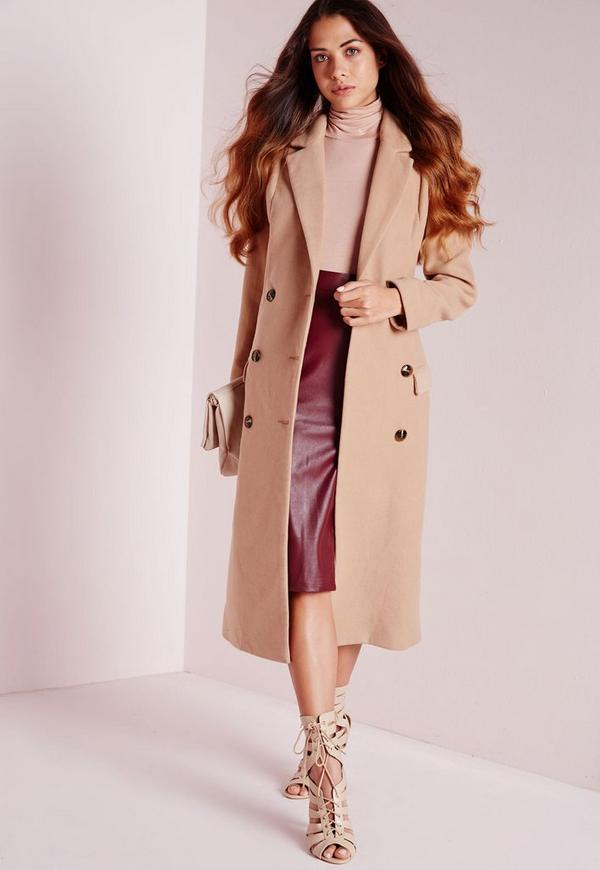 Double Breasted Tailored Long Faux Wool Coat Camel