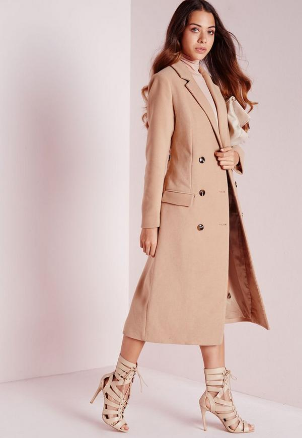 9e956e7197f2 Double Breasted Tailored Long Faux Wool Coat Camel