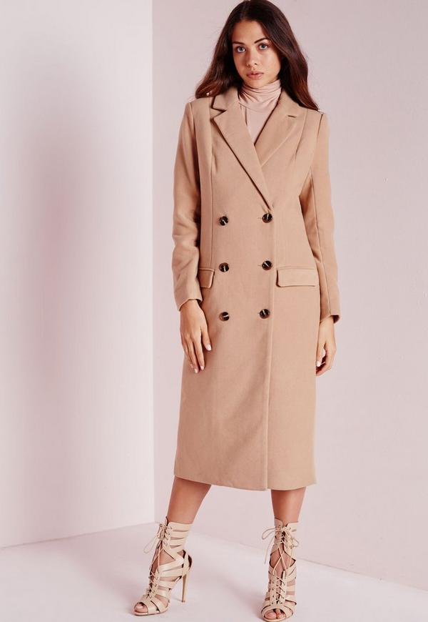 Double Breasted Tailored Long Faux Wool Coat Camel | Missguided