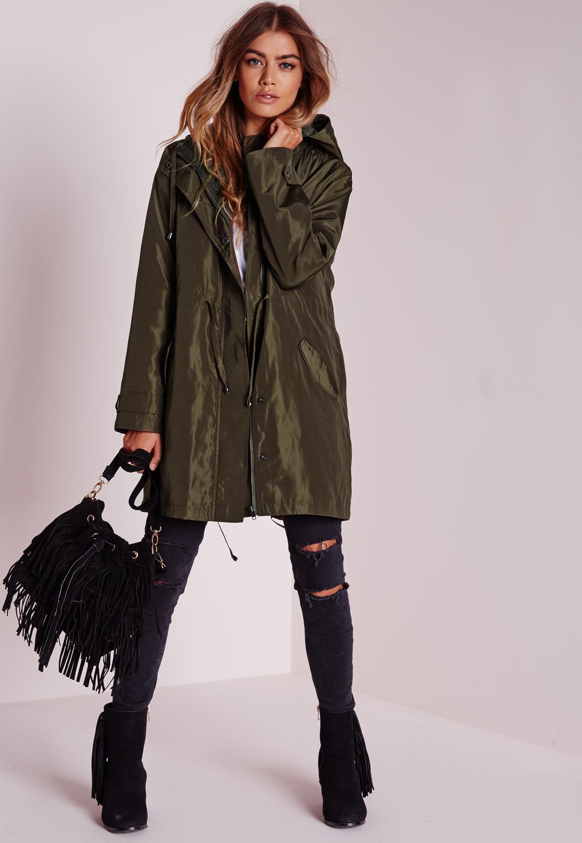 Silky Padded Parka Coat Khaki | Missguided
