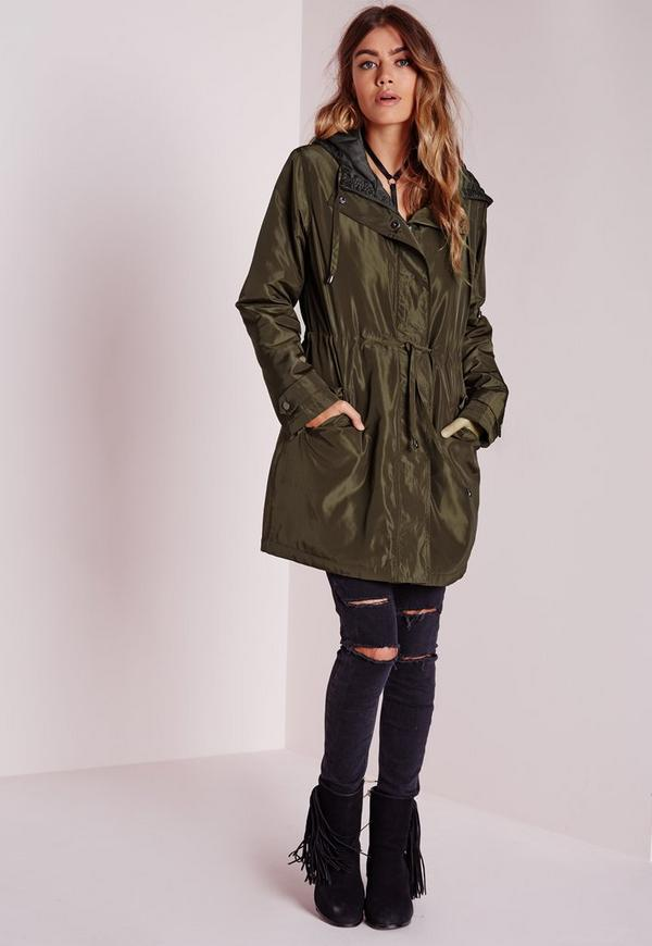 Silky Padded Parka Coat Khaki - Coats and Jackets - Parkas ...