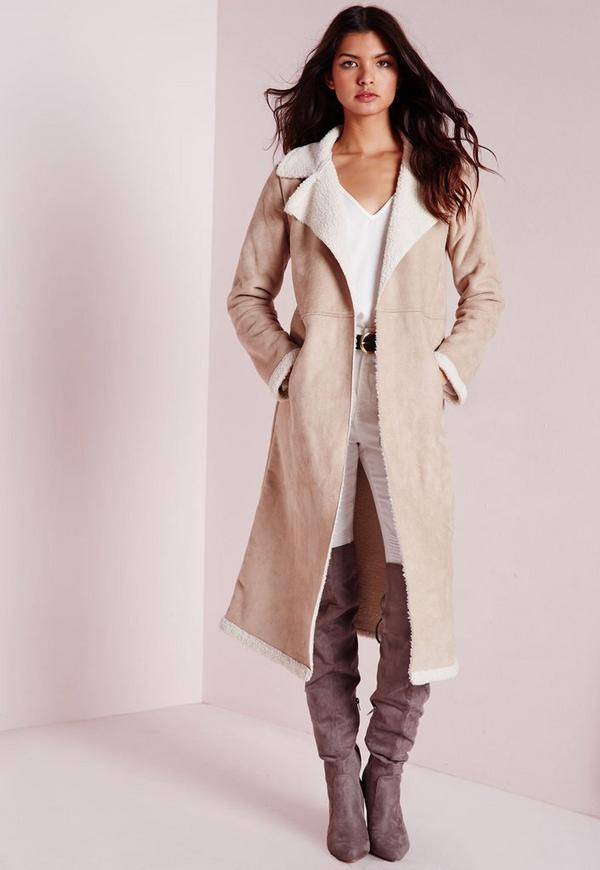 Longline faux Shearling Jacket Taupe