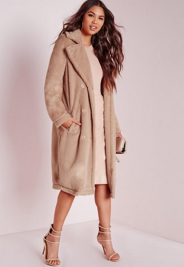 Longline Double Breasted Teddy Fur Coat Camel