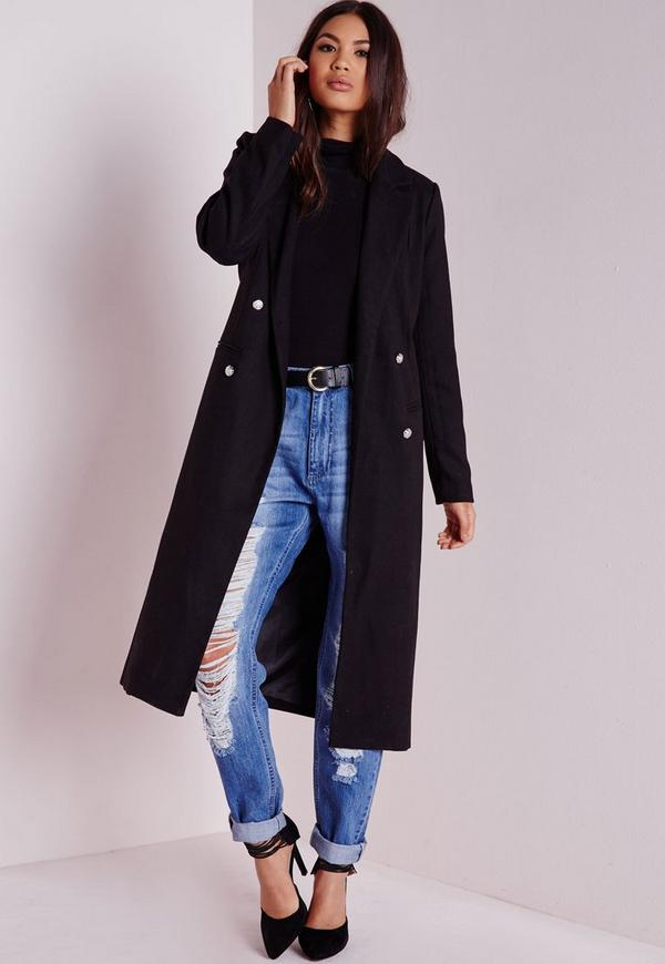 Tailored Longline Military Coat Black | Missguided