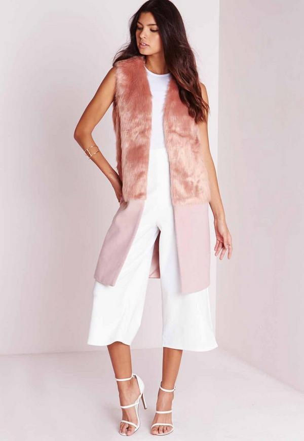 Sleeveless Wool Coat with Faux Fur Mauve