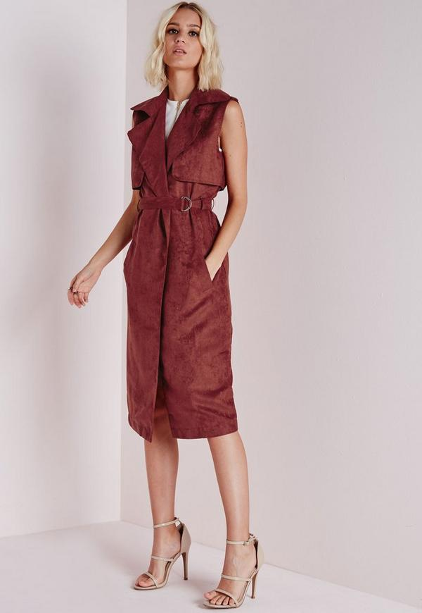 Faux Suede Sleeveless Belted Trench Coat Rust