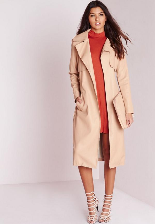 Faux Leather Trench Coat Nude