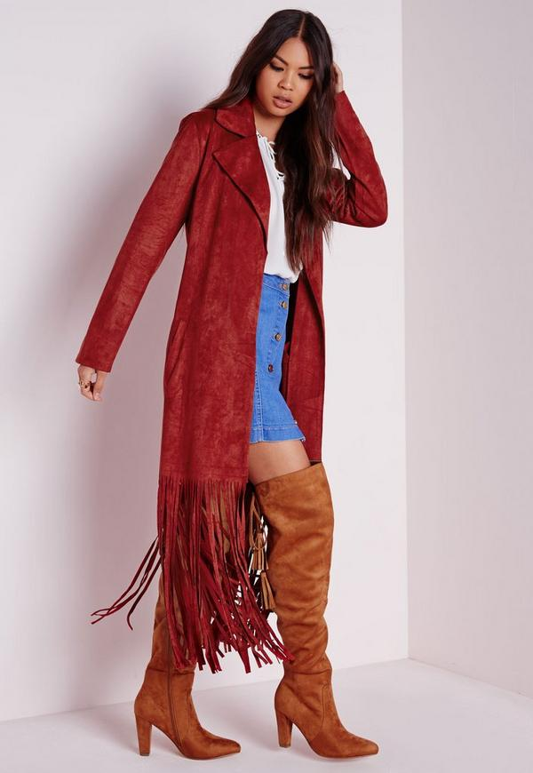Fringe Faux Suede Trench Coat Rust